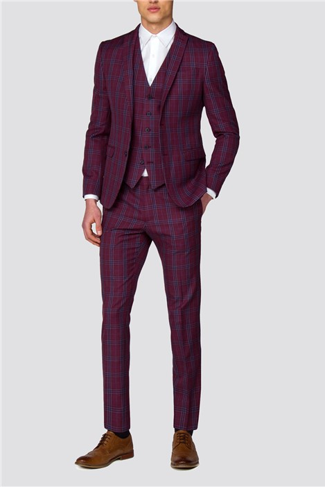 Red Herring Branded Crimson Checked Skinny Fit Suit