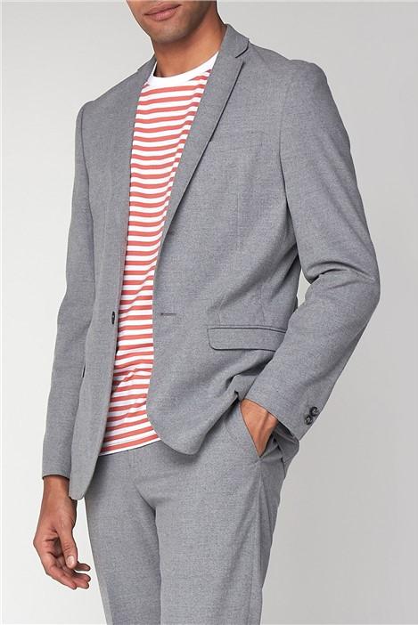 Ben Sherman Tailoring Light Grey Flannel Unstructured Slim Jacket