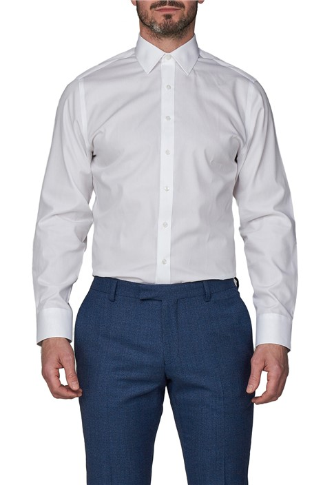 Jeff Banks White Single Cuff Half Cutaway Shirt