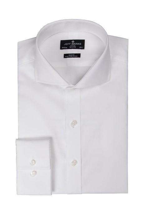 Jeff Banks White Single Cuff Cutaway Slim Shirt