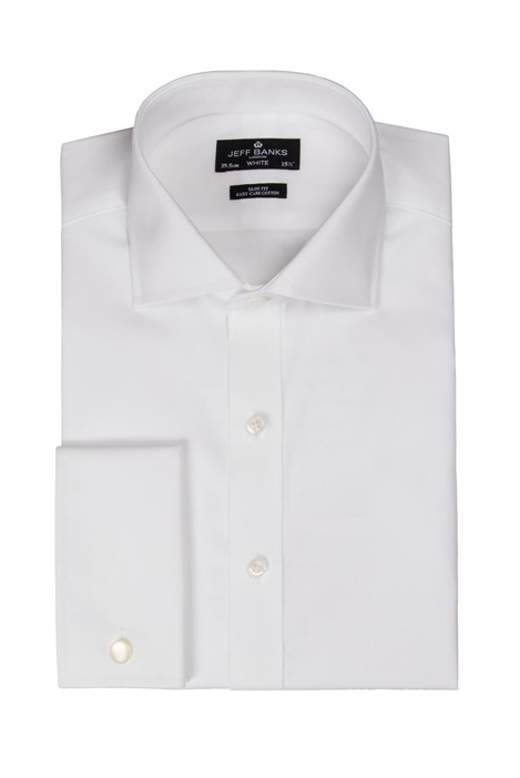 Jeff Banks White Double Cuff Cutaway Slim Shirt