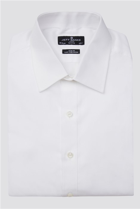 Jeff Banks White Double Cuff Half Cutaway Slim Shirt
