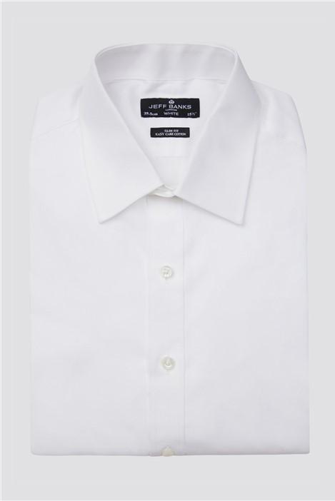 Jeff Banks White Double Cuff Half Cutaway Slim Tuxedo Shirt