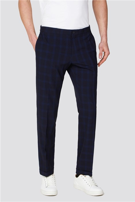 Red Herring Branded Navy Checked Slim Fit Trousers