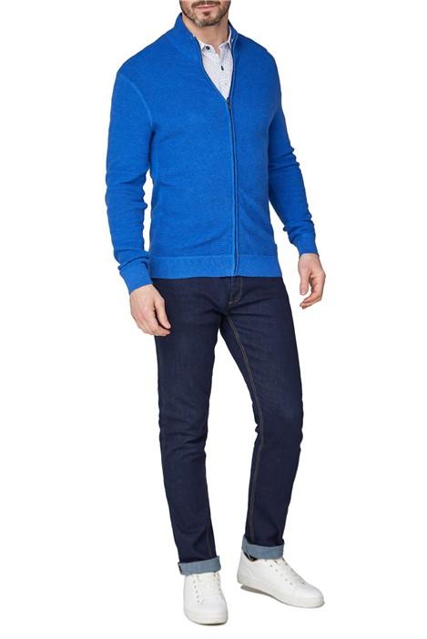 Jeff Banks Royal Blue Textured Cotton Zip Through Jumper