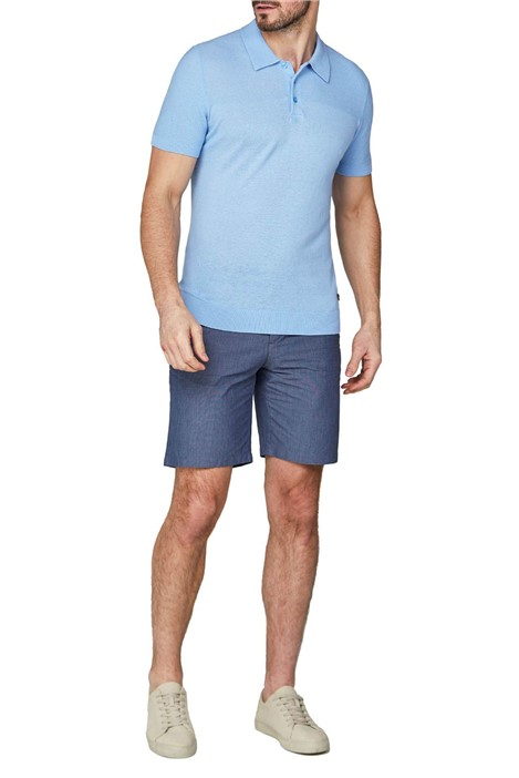 Jeff Banks Short Sleeve Pale Blue Knitted Polo