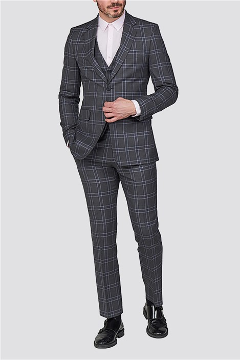 Hammond and Co Grey Blue Check Tailored Fit Suit Jacket