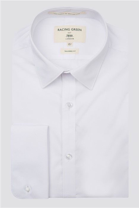 Racing Green White Poplin Double Cuff Shirt