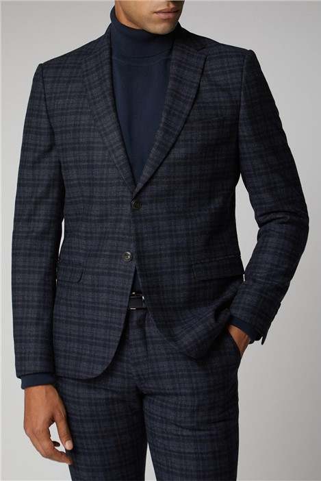 Ben Sherman Navy Charcoal Check Suit Jacket
