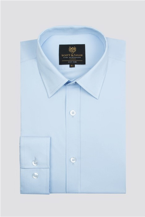 Scott & Taylor Blue Poplin Single Cuff Shirt