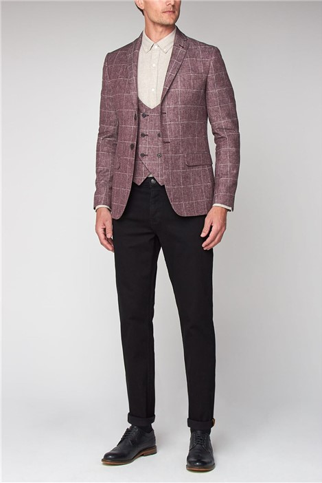 Racing Green Linen Burgundy Windowpane Tailored Fit Jacket