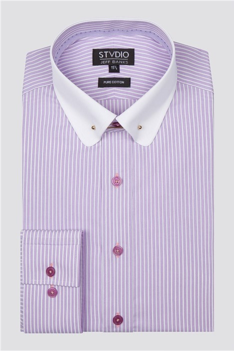 Stvdio by Jeff Banks Lilac Tipped Stripe Shirt
