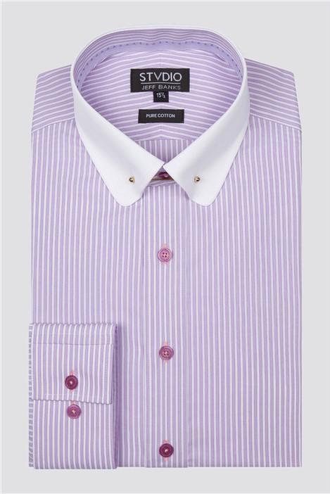 Stvdio Lilac Tipped Stripe Shirt