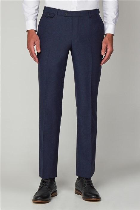 Racing Green Blue Herringbone Formal Tailored Trousers