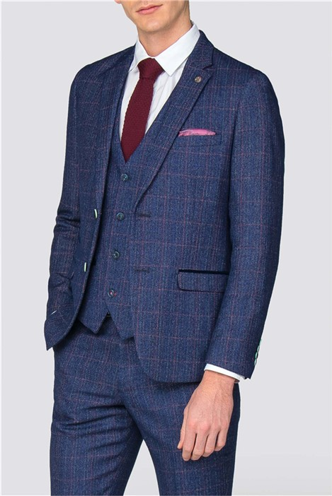 Marc Darcy Harry Indigo Tweed Check Suit
