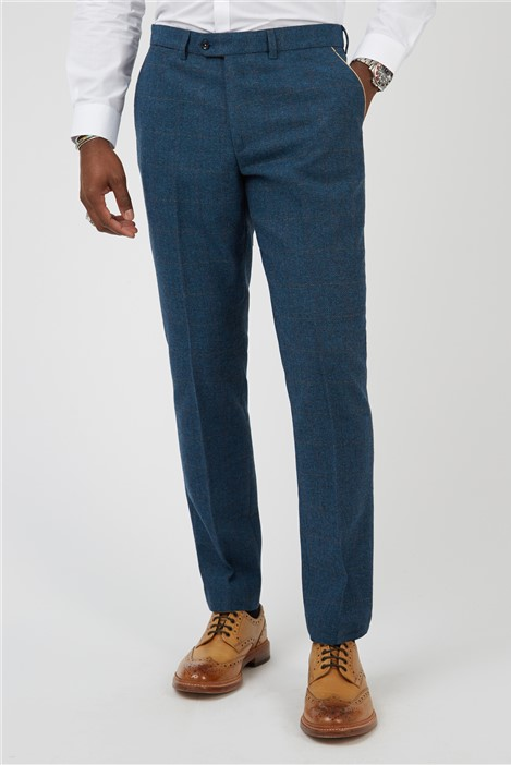 Marc Darcy Dion Blue Herringbone Tweed Check Trousers