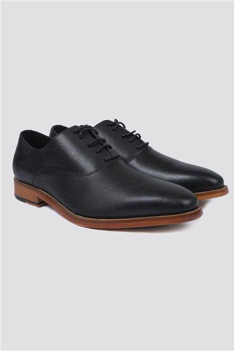 Jeff Banks Black Textured Saffiano Shoe