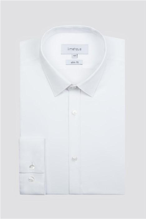 Limehaus White Stretch Poplin Single Cuff Shirt