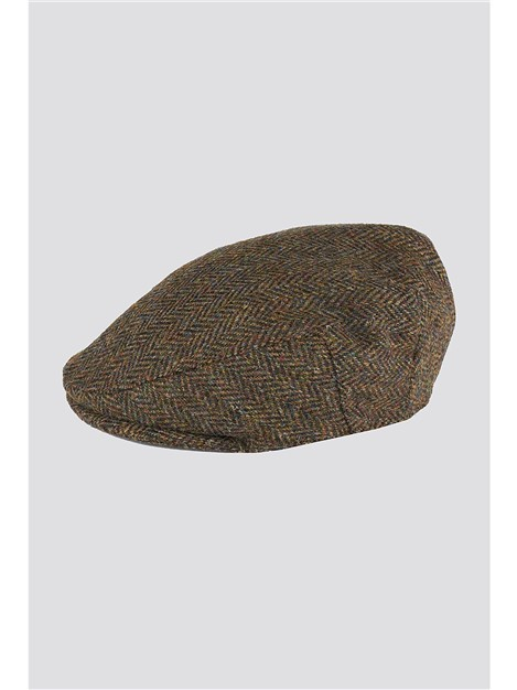 Racing Green Harris Tweed Green Herringbone Flat Cap