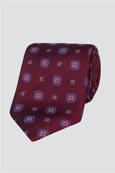London Red Textured Medallion Tie
