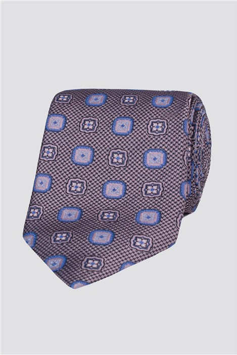 London Pink Textured Medallion Tie
