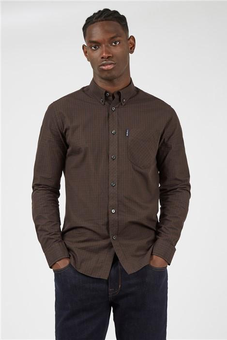Ben Sherman Cocoa Signature Gingham Long Sleeved Shirt