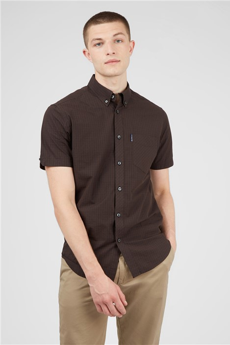 Ben Sherman Cocoa Signature Gingham Short Sleeved Shirt