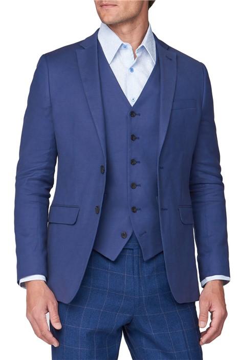 Jeff Banks Deep Blue Textured Linen Blend Jacket