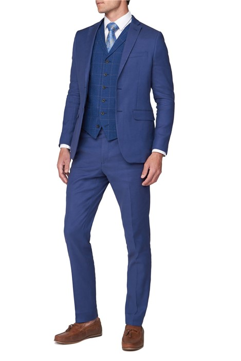 Jeff Banks Deep Blue Textured Linen Blend Jacket