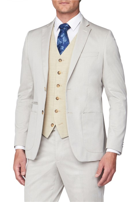 Jeff Banks Oatmeal Textured Mixed Tailoring Suit