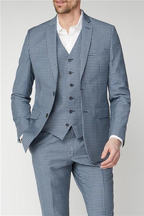 Jeff Banks Mid Blue Gingham Mixed Tailoring Jacket