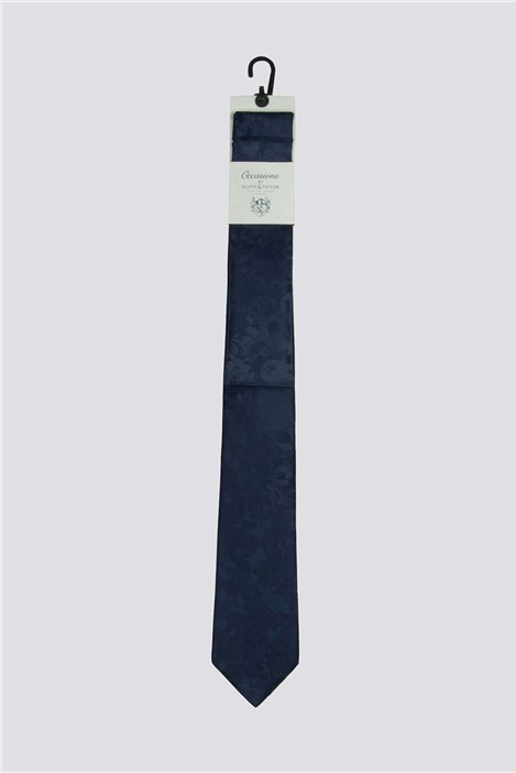 Scott & Taylor Occasions Navy Floral Tie & Hank Set