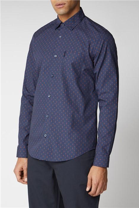 Ben Sherman Long Sleeve Geo Print Shirt