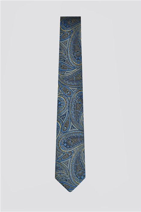Blue & Gold Large Paisley Tie