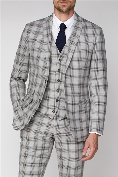 Racing Green Grey Camel Check Tailored Fit Suit