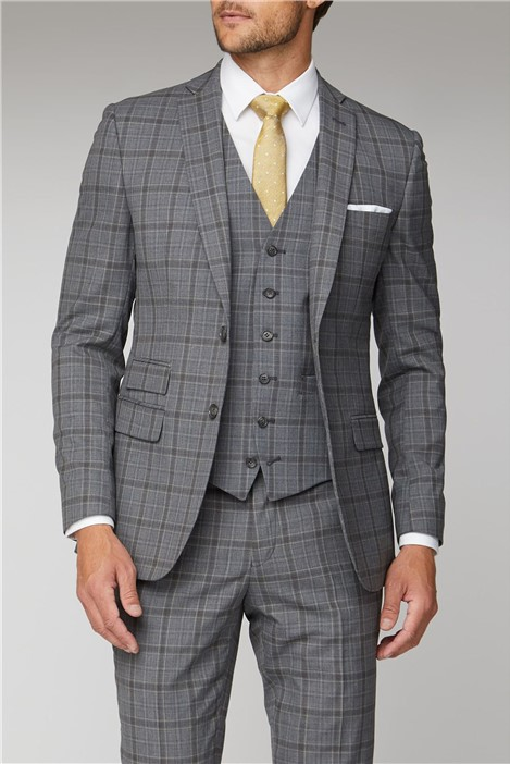 Racing Green Soft Grey Check Tailored Fit Suit