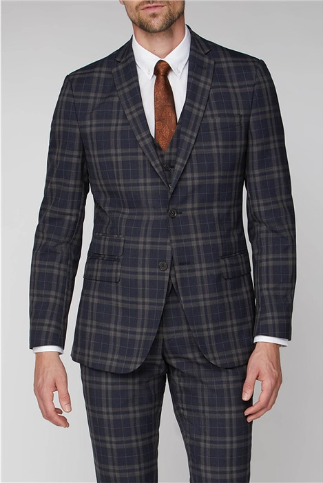 Racing Green Navy Brown Bold Check Tailored Fit Jacket