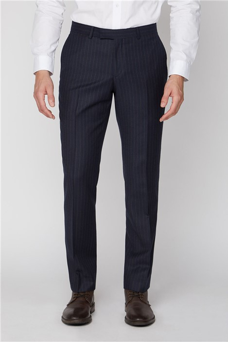Racing Green Navy Camel Stripe Tailored Fit Trousers