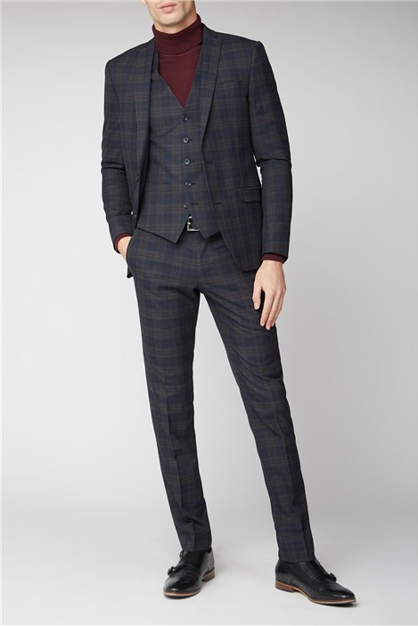 Limehaus Navy Green Check Skinny Suit