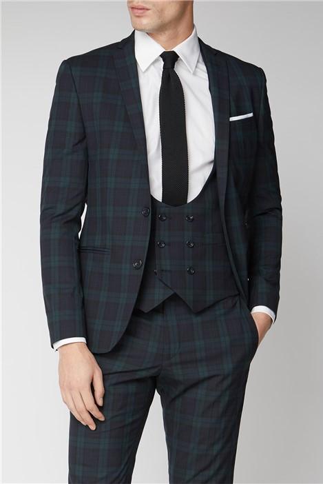 Limehaus Navy Green Tartan Skinny Suit