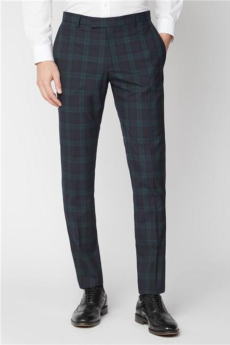 Limehaus Navy Green Tartan Skinny Suit Trouser