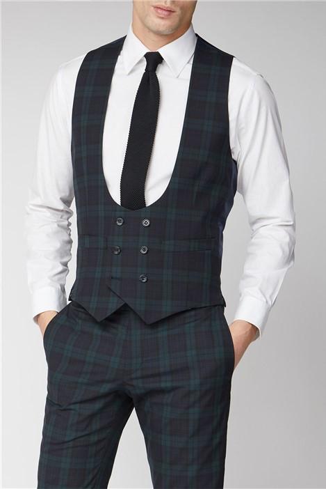 Limehaus Navy Green Tartan Skinny Suit Waistcoat