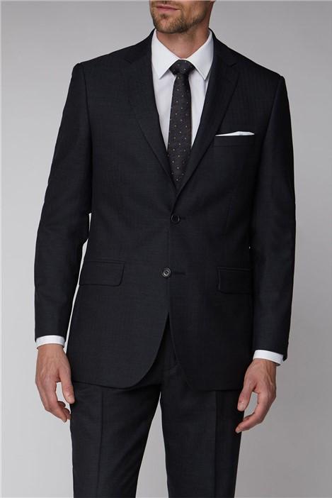 Alexandre of England Charcoal Herringbone Regular Fit Suit