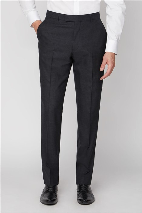 Alexandre of England Charcoal Herringbone Wool Regular Fit Suit Trousers