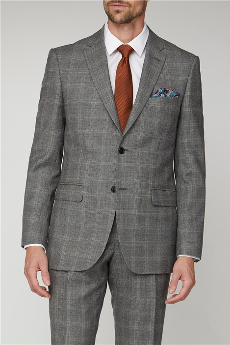Alexandre of England Grey Rust Check Regular Fit Suit