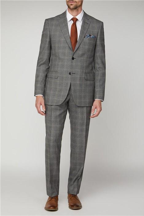 Alexandre of England Grey Rust Check Regular Fit Suit