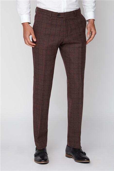 Limehaus Burgundy Check Slim Trouser