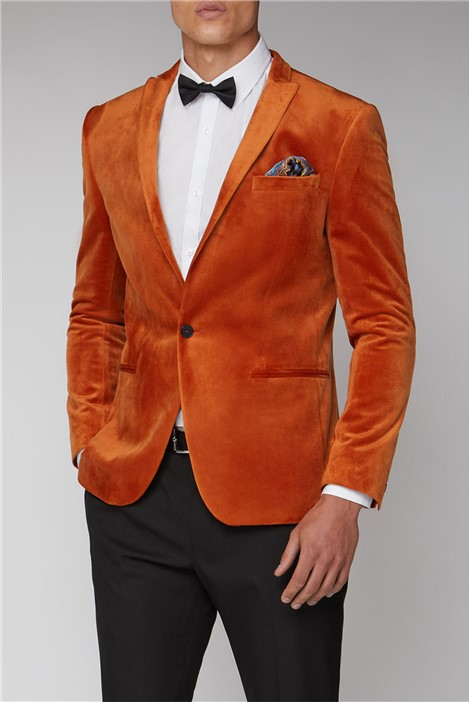 Limehaus Burnt Orange Slim Velvet Jacket