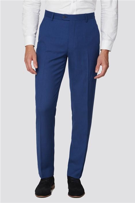 Racing Green Blue Semi Plain Regular Fit Suit Trouser