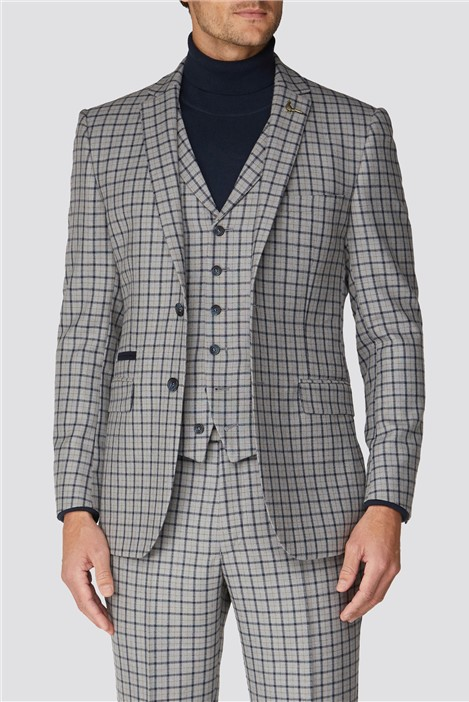 Racing Green Grey Navy Check Tailored Fit Suit Jacket